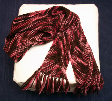 Brown & pink biased scarf