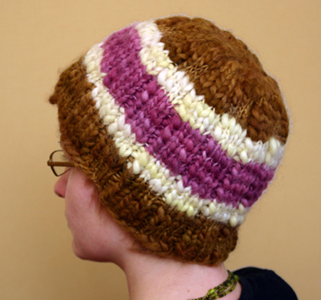 Brown, white & pink knitted hat