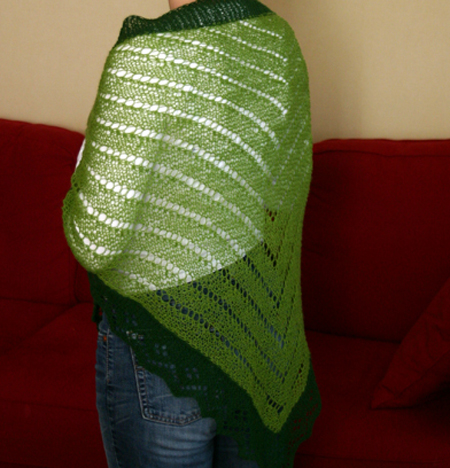 Green knitted laceshawl