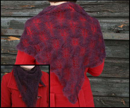 Lila Dove-sjal i kodmohair