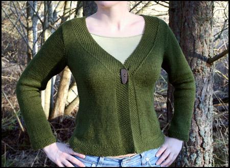 Mossgrön silke/alpacka-skofta